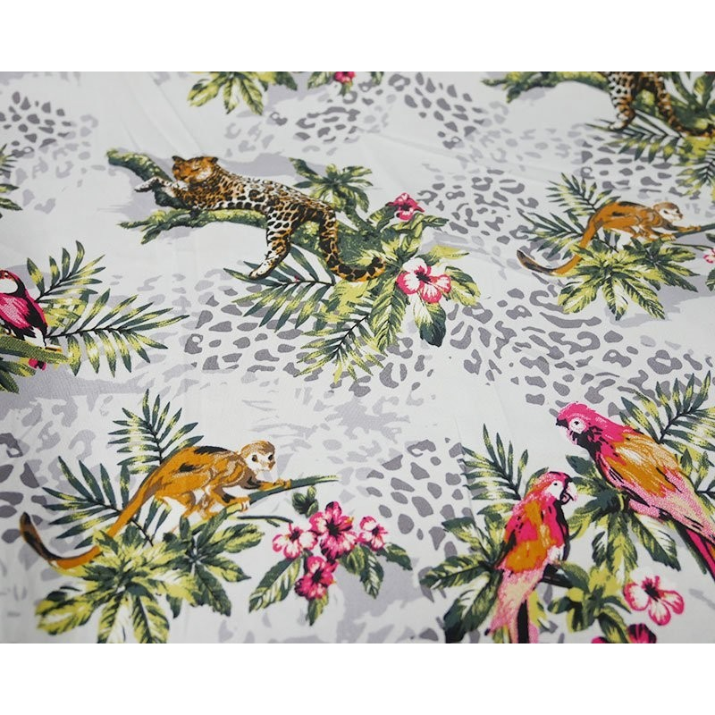 Cotton Elastane Stretch Fabric Jungle Monkey Parrot Leopard Floral Leaves 424 Silver