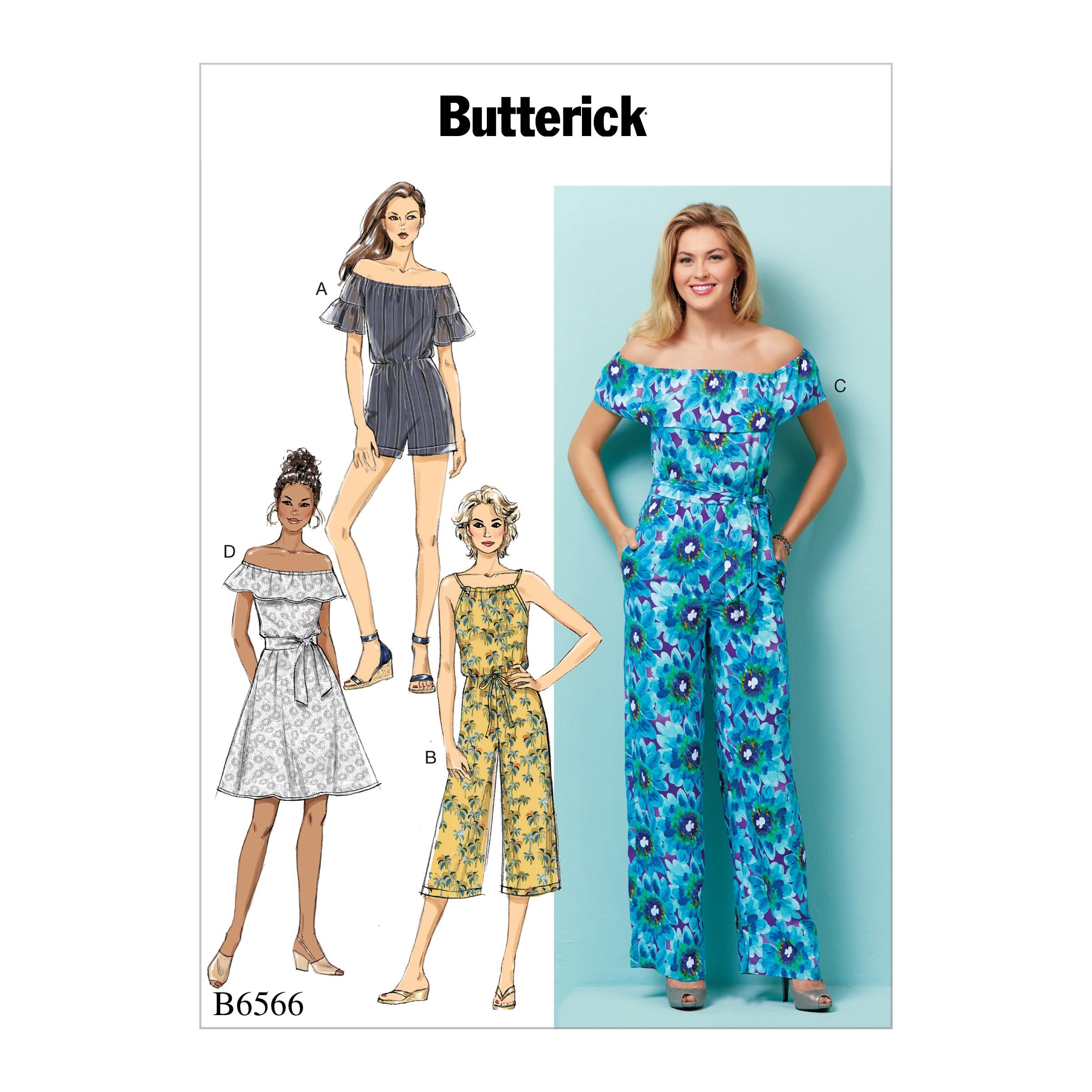 Butterick Sewing Pattern 6566 Misses' / Misses Petite Dress, Rhomper or Playsuit