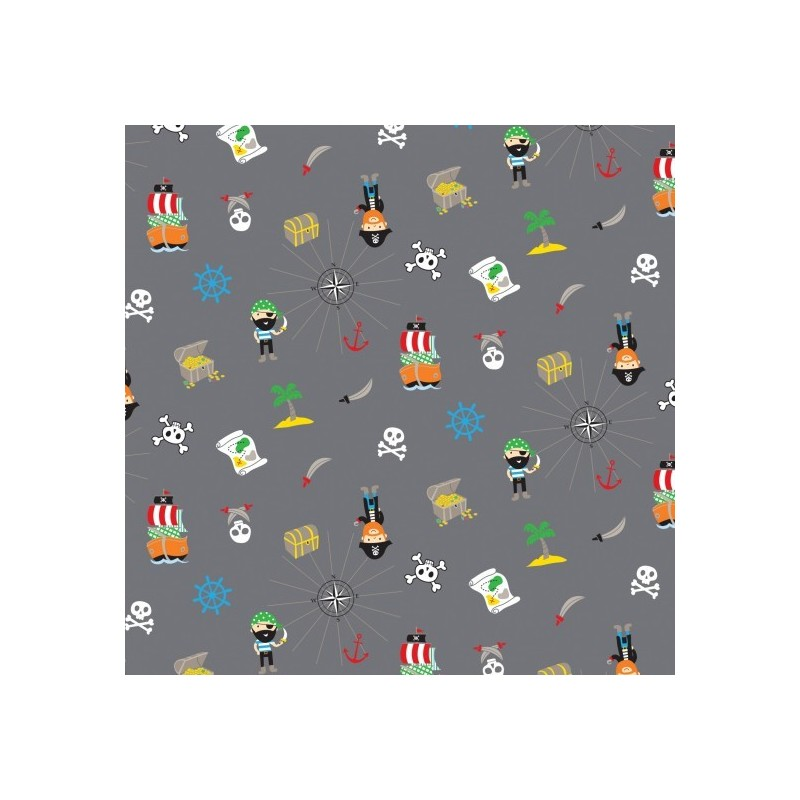 Pirates Grey 100% Cotton Patchwork Fabric Walk The Plank Pirates Boats Treasure