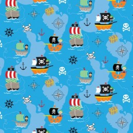 100% Cotton Patchwork Fabric Nutex Walk The Plank Pirates Boats Treasure