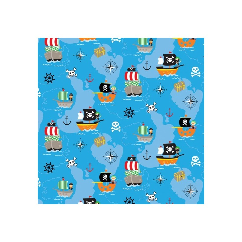 Ocean Pirates 100% Cotton Patchwork Fabric Walk The Plank Pirates Boats Treasure