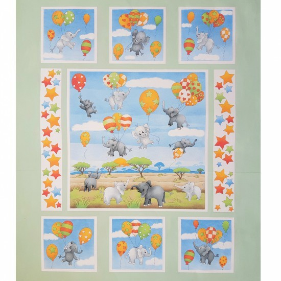 100% Cotton Patchwork Fabric Nutex Up & Away Elephant Baby Balloons Panel