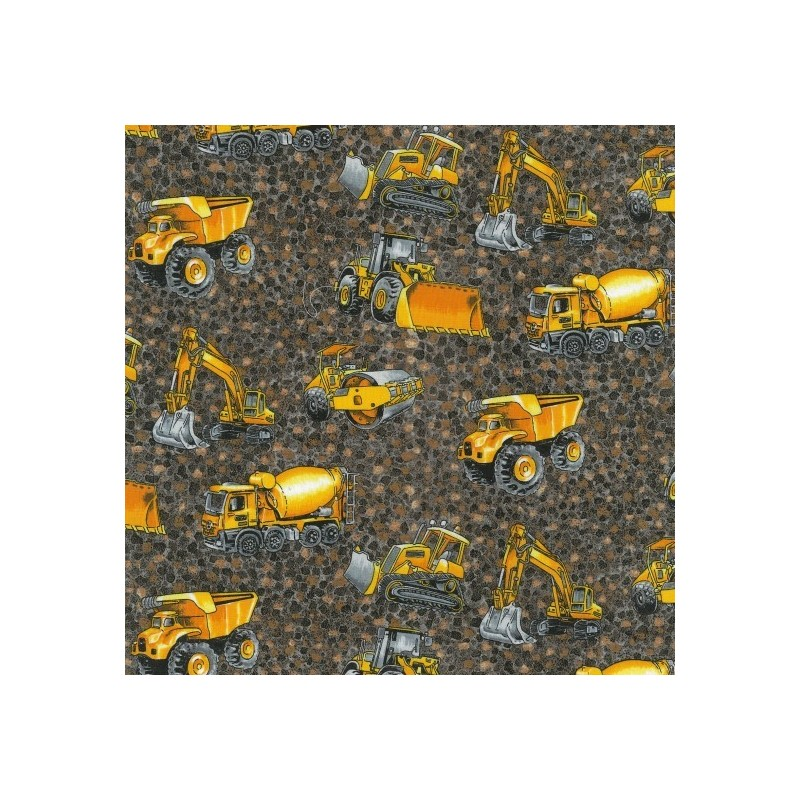Brown 100% Cotton Patchwork Fabric Nutex Construction Trucks & Diggers Eartmovers