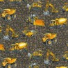 100% Cotton Patchwork Fabric Nutex Construction Trucks & Diggers Earthmovers