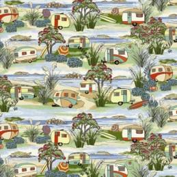 Col.101 100% Cotton Fabric Nutex Retro Holidays Caravans, Camper Van & Beach Huts