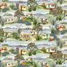 100% Cotton Fabric Nutex Retro Holidays Caravans, Camper Van & Beach Huts