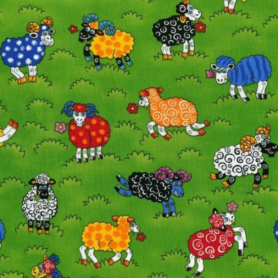 100% Cotton Patchwork Fabric Nutex Rainbow Sheep Farm Animals