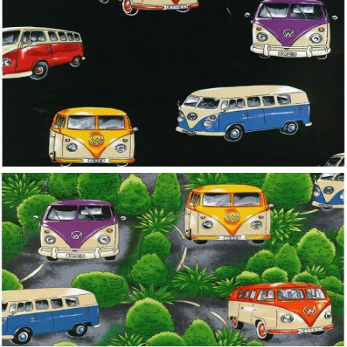 Black 100% Cotton Patchwork Fabric Nutex On Tour VW Camper Vans