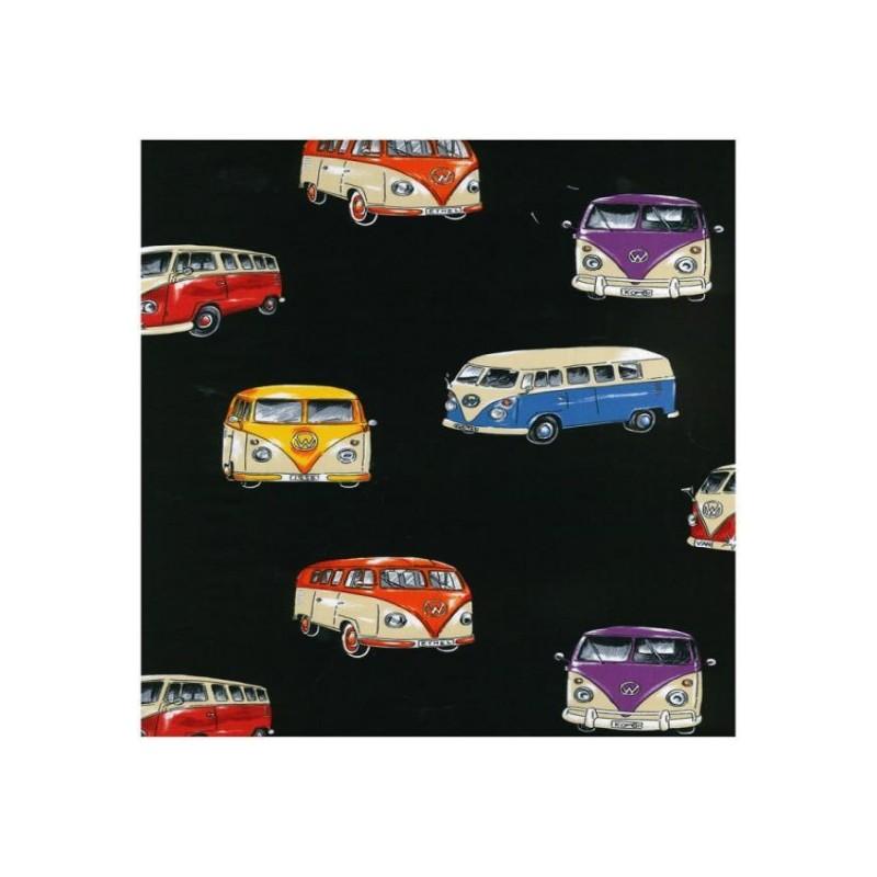 Black 100% Cotton Patchwork Fabric Nutex On Tour VW Camper Vans