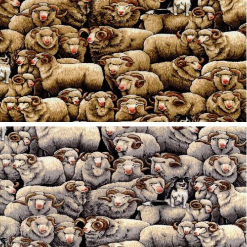 Grey 100% Cotton Patchwork Fabric Nutex Merinos Sheep Farm Life