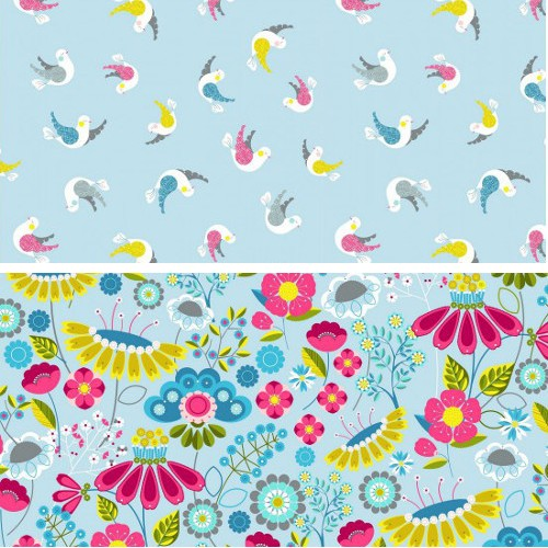 Col.103 Birds 100% Cotton Patchwork Fabric Nutex Meadow Floral Flowers Birds