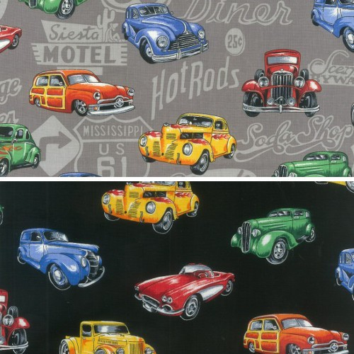Col.1 Multi 100% Cotton Patchwork Fabric Nutex Hot Rods Vintage Amercian Cars