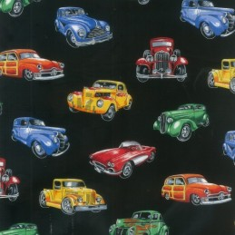Col.2 Black 100% Cotton Patchwork Fabric Nutex Hot Rods Vintage Amercian Cars