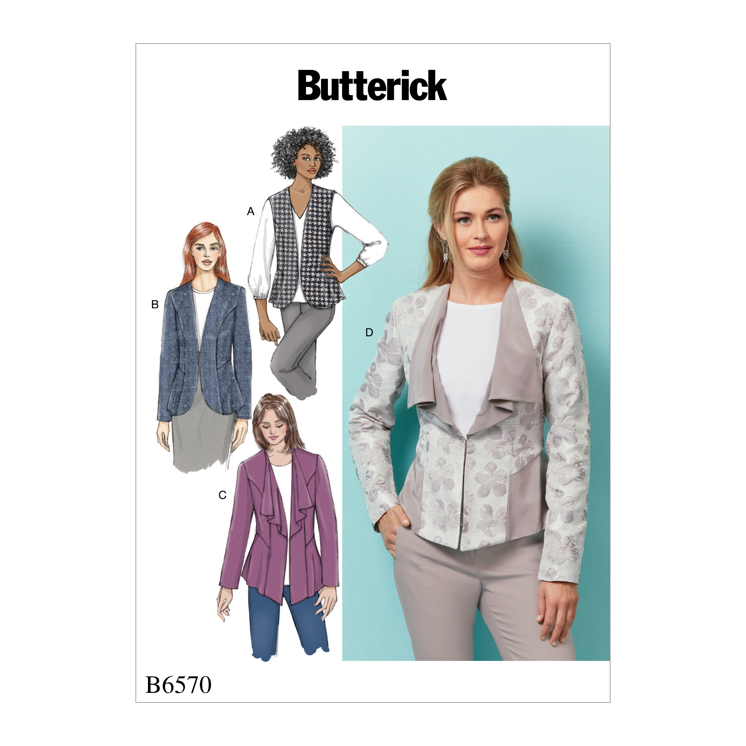 Butterick Sewing Pattern 6587 Misses' Semi-Fitted Button Top, Dress & Skirt