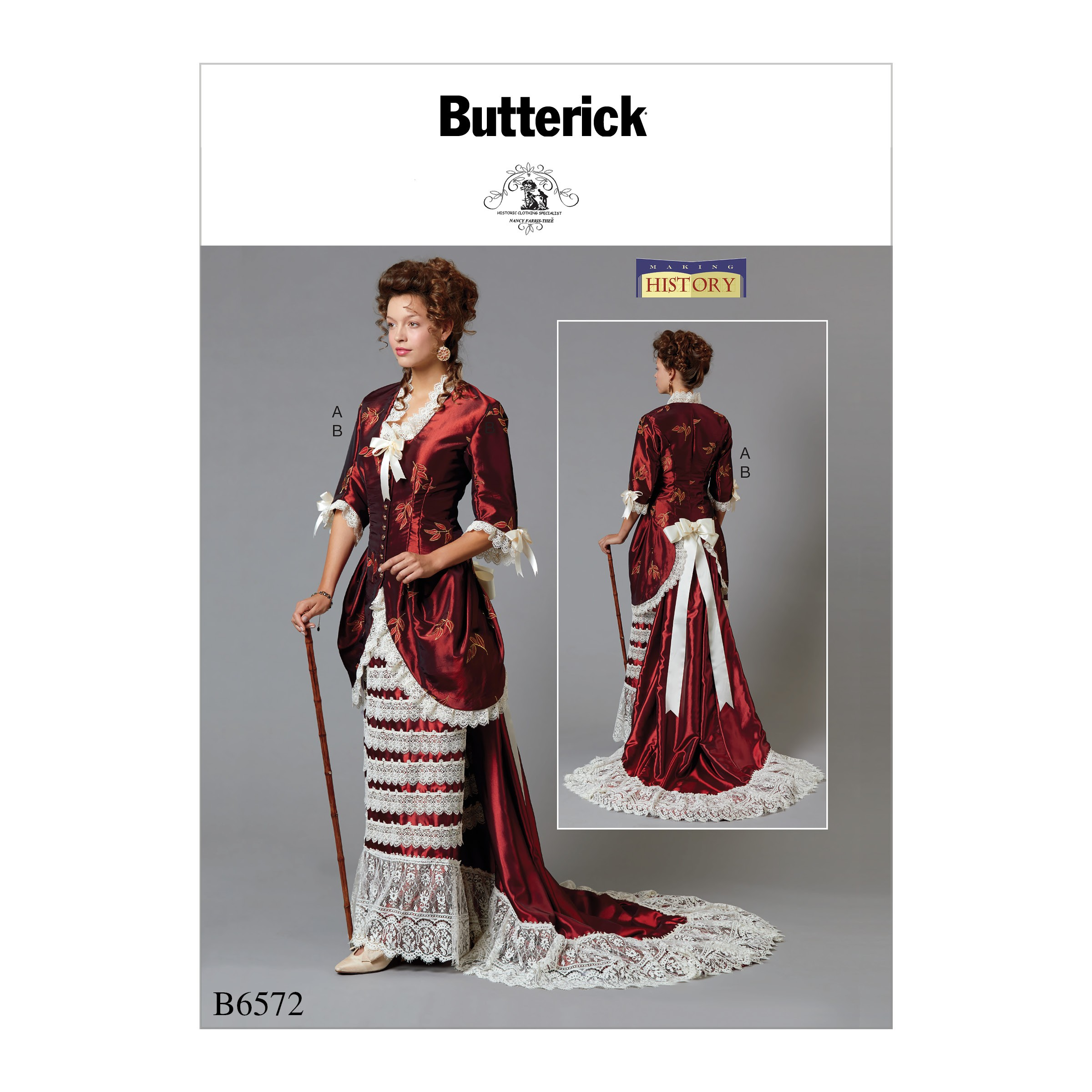 Butterick Sewing Pattern 6572 Misses' Victorian Dress Costume Jacket & Train