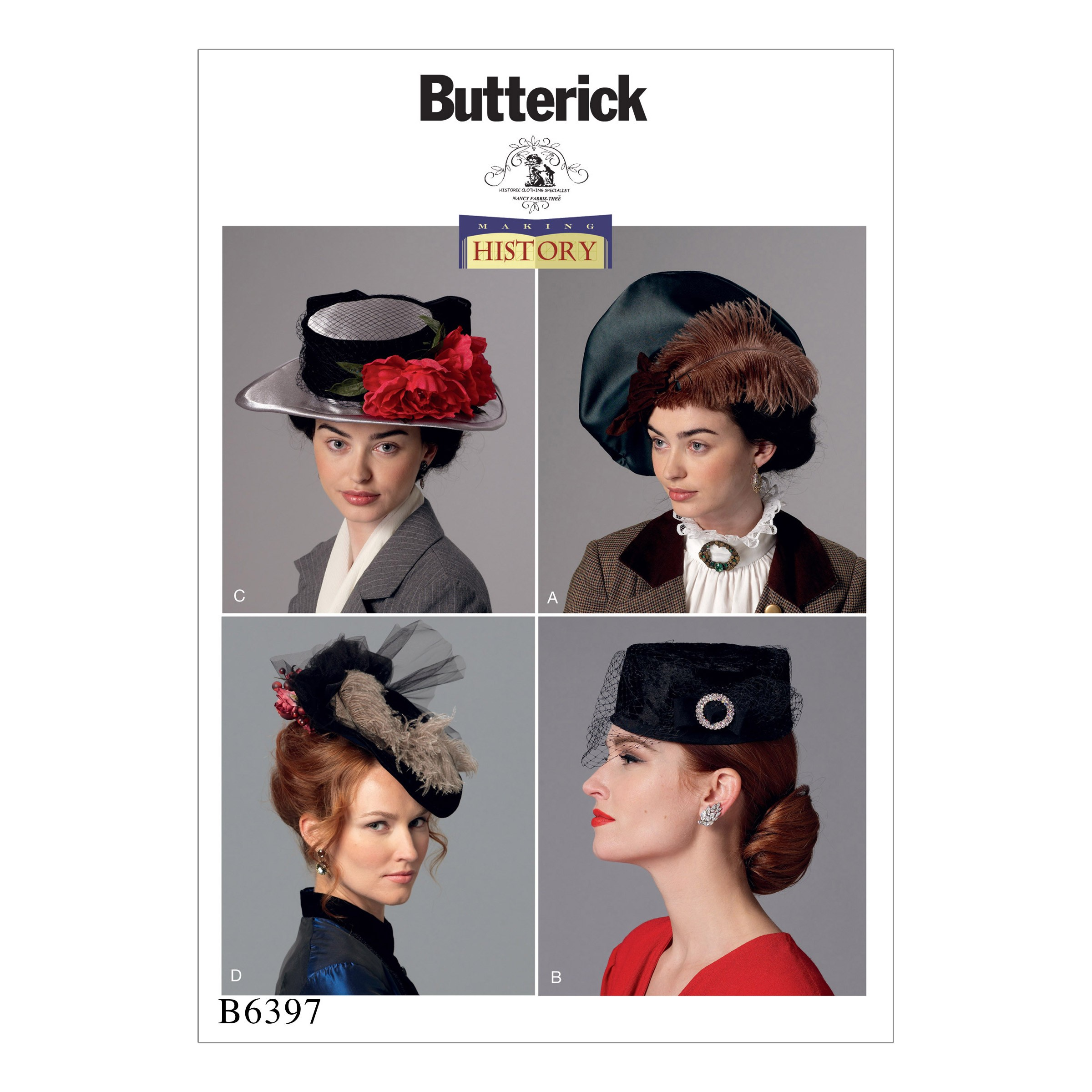 Butterick Sewing Pattern 6671 Misses' Vintage Victorian Costme Hat 4 Patterns