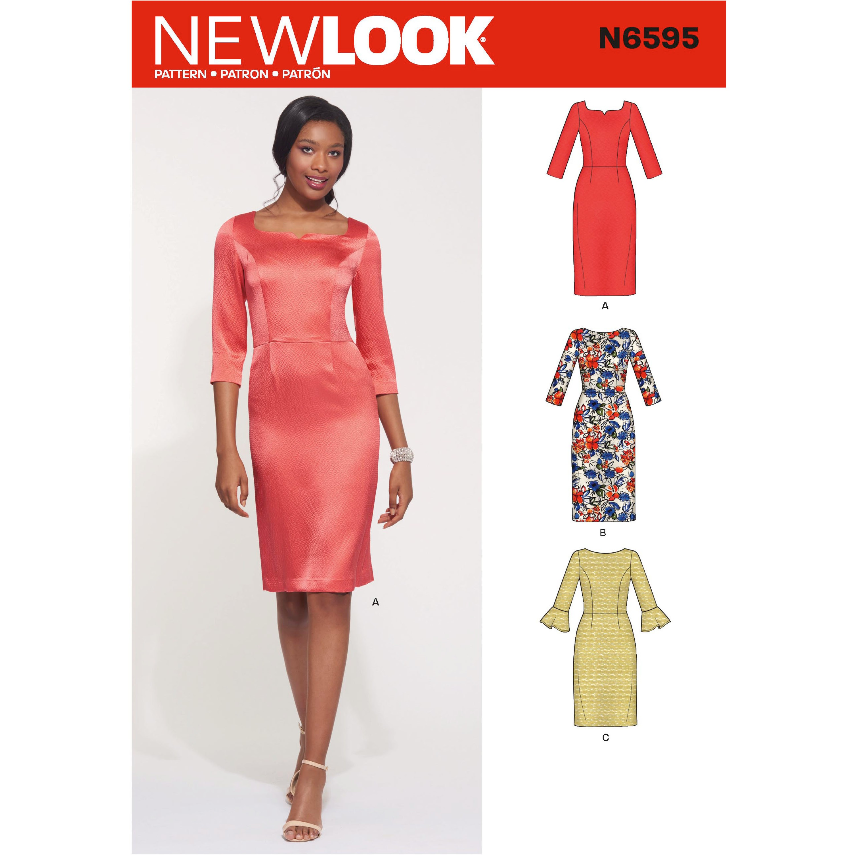 New Look Women's Form Fitting Dress with Neckline and Sleeve Variations 6595
