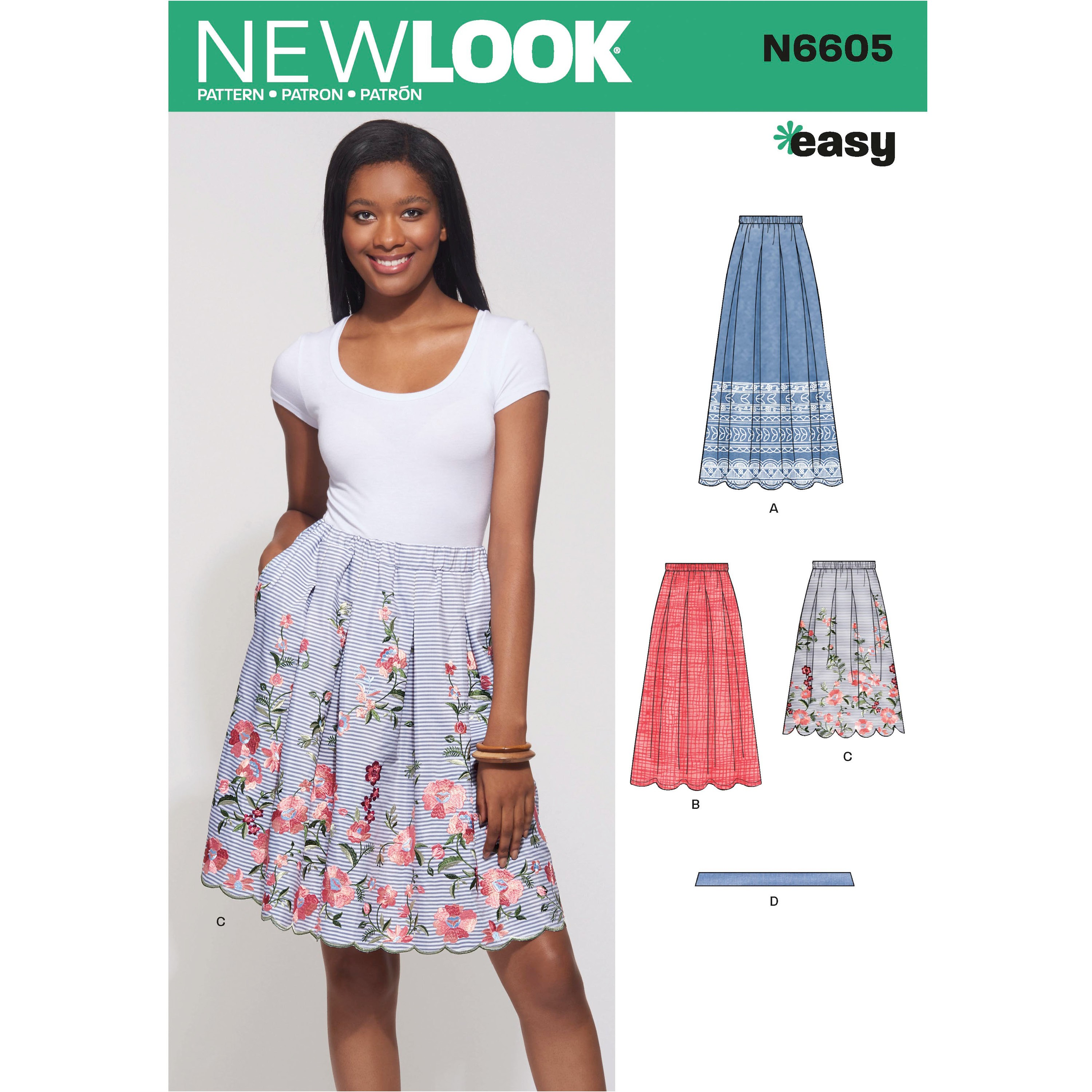 New Look Women's Soft Pleated Loose-Fitting Skirt with Elastic Wasteband 6605