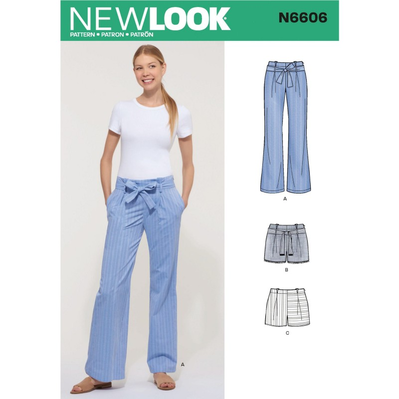 New Look Women's Loose-Fitting Casual Trousers or Shorts with Belt and Bow 6606