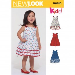 New Look Toddlers' Flowing Sundress Shirred at Back of the Bodice 6610