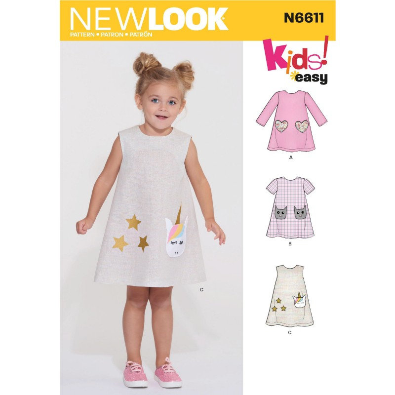 New Look Toddlers' Flowing Sundress Shirred at Back of the Bodice 6611