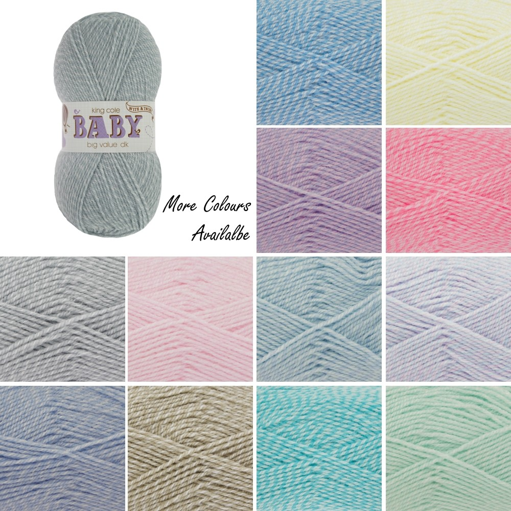 King Cole Big Value Baby DK Double Knit with a Twist Weight 50g Lilac Twist