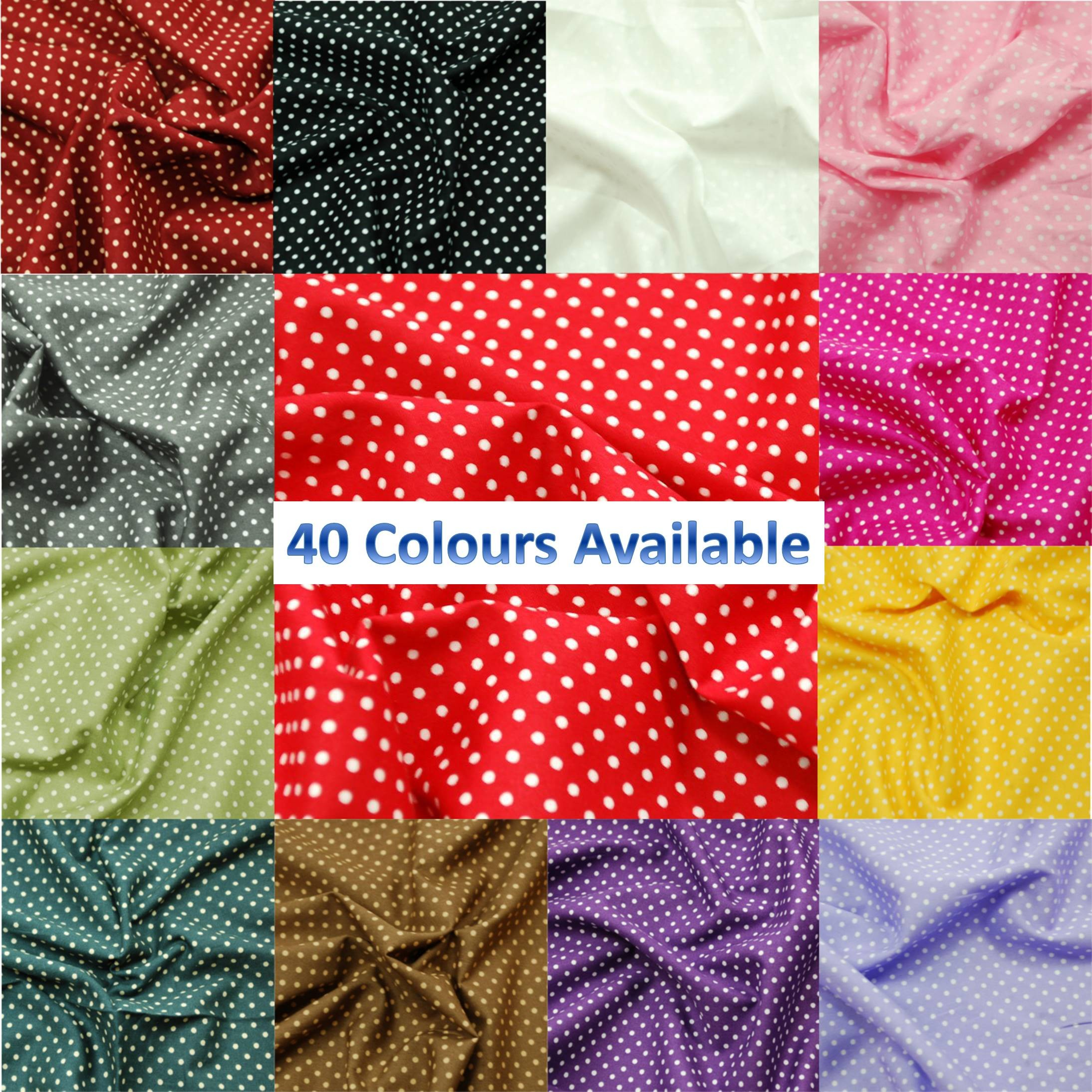 Pink 3mm Spots Polka Dots Various Colours 100% Cotton Poplin Fabric