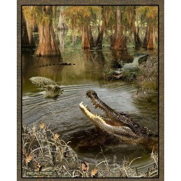 Huge Sale Real Tree Alligators In A Swamp Panel 100% Cotton Patchwork Fabric