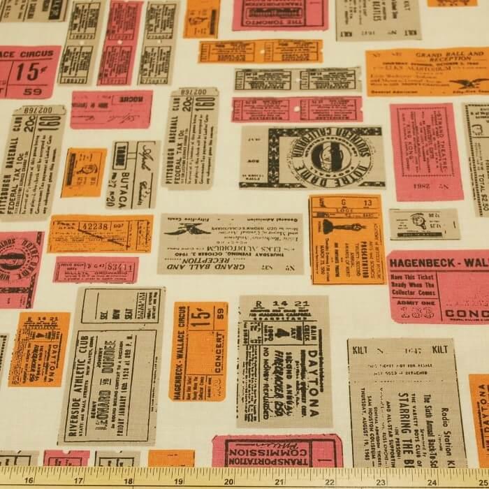 Vintage Stamps Sports And Shows 100% Cotton Fabric