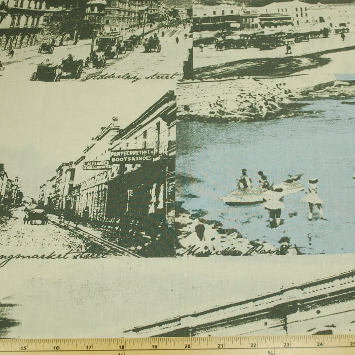 Vintage Scenery And Town 100% Cotton Fabric