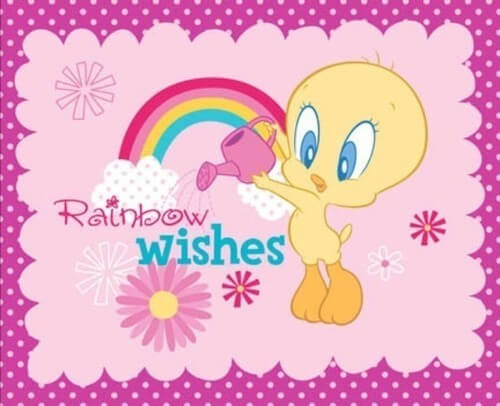 Rainbow Wishes Looney Tunes 100% Cotton Fabric