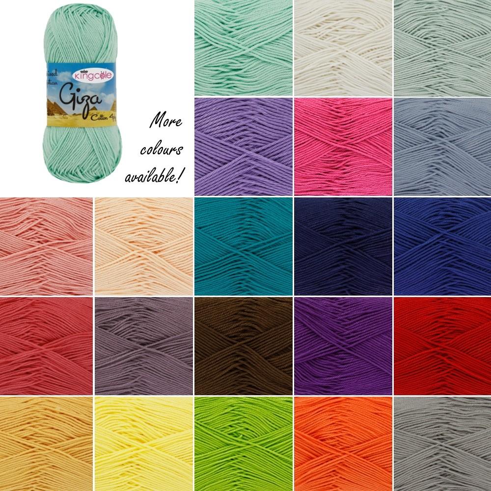 King Cole Giza Cotton 4 Ply Knitting Yarn Knit Craft Wool Crochet 50g Ball White