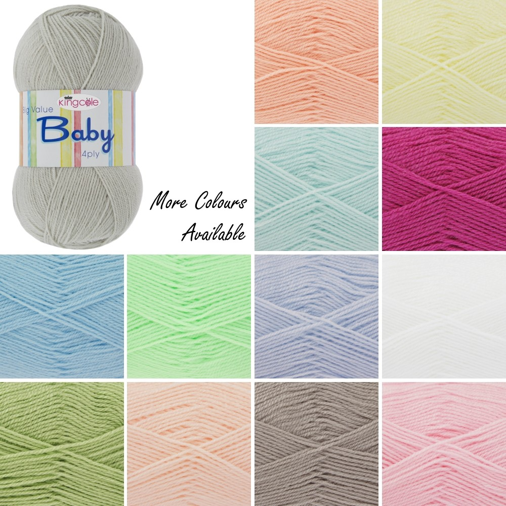 King Cole Big Value Baby 4Ply Wool Yarn 100% Premium Acrylic Weight 100g Cappuccino