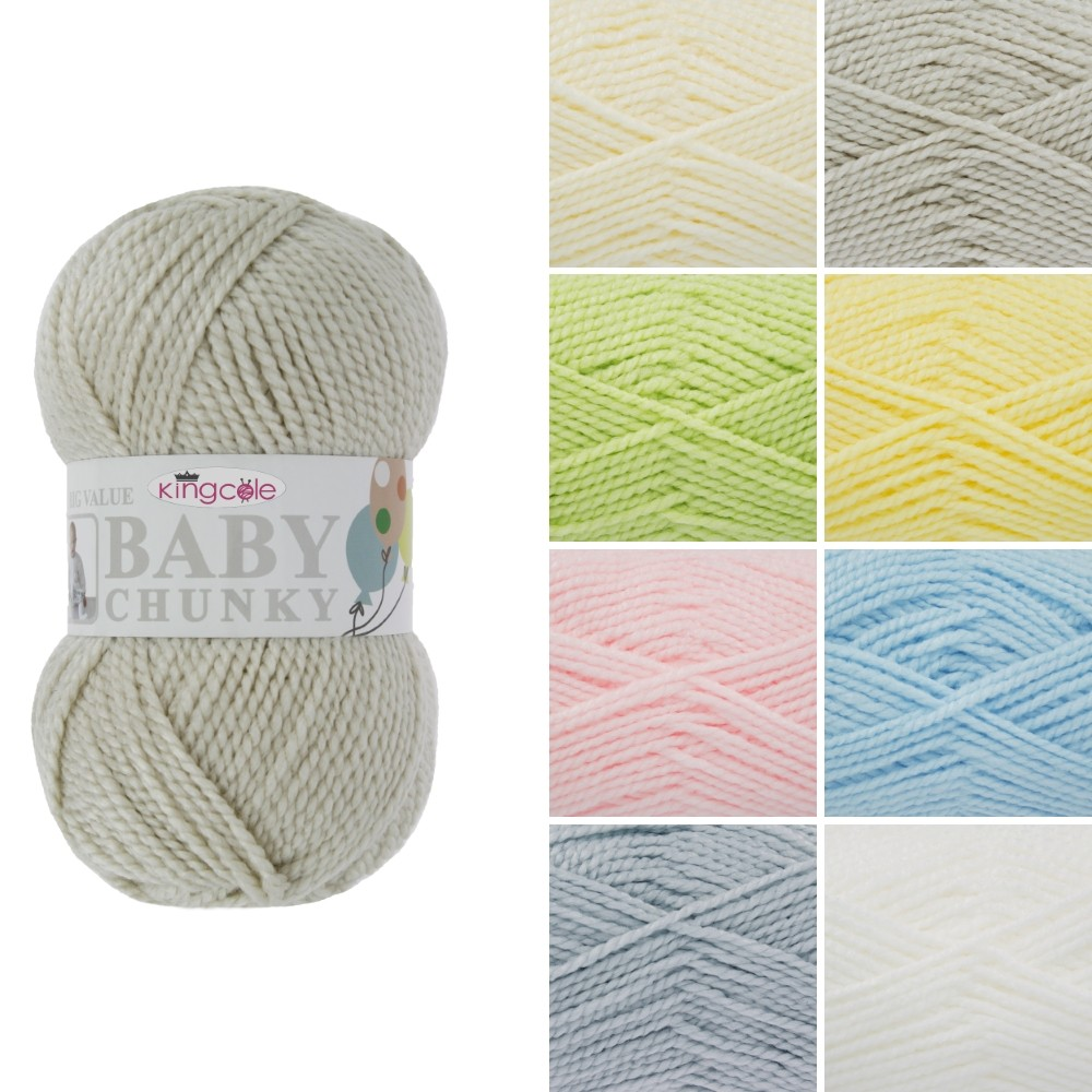 King Cole Big Value Baby Chunky Wool Yarn 100% Premium Acrylic Weight 100g White