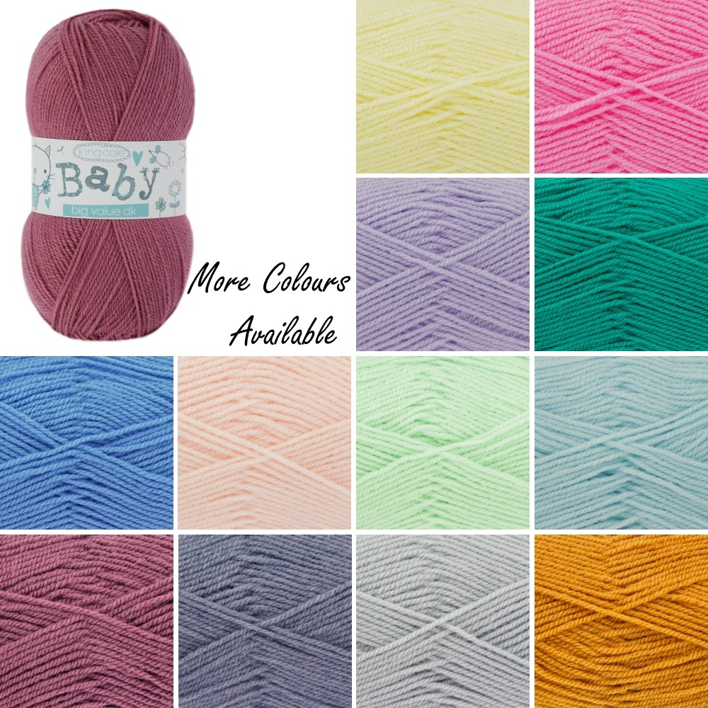 King Cole Big Value Baby DK Wool Yarn 100% Premium Acrylic Weight 100g White