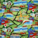 SALE 100% Cotton Fabric America Road Trip Motel Diner Cafe Cars Route 66