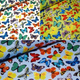 100% Cotton Fabric John Louden Bright Fluttering Butterfly Butterflies Insects