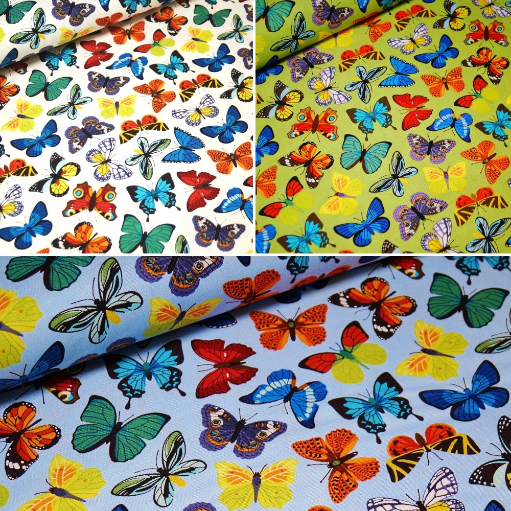100% Cotton Fabric John Louden Bright Fluttering Butterfly Butterflies