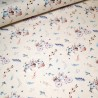 100% Cotton Fabric John Louden Bicycle Bunnies Bunny Rabbits Floral Flowers