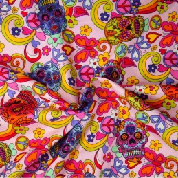 100% Cotton Poplin Fabric Rose & Hubble Mexican Candy Skulls Peace Swirls Pink