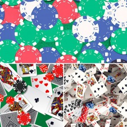 100% Digital Cotton Fabric Little Johnny Range Gambling Casino Cards 145cm Wide
