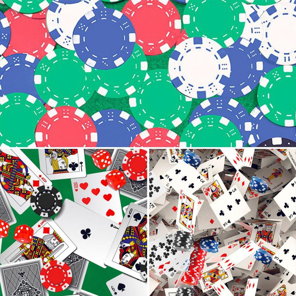 Casino Chips 100% Digital Cotton Fabric Little Johnny Range Gambling Casino Cards 145cm Wide
