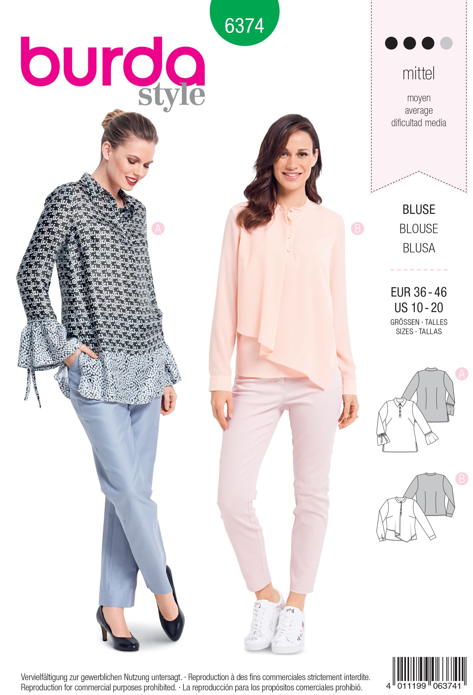 Burda Style Misses' Tunic Blouse Detailed with Frills Sewing Pattern 6374