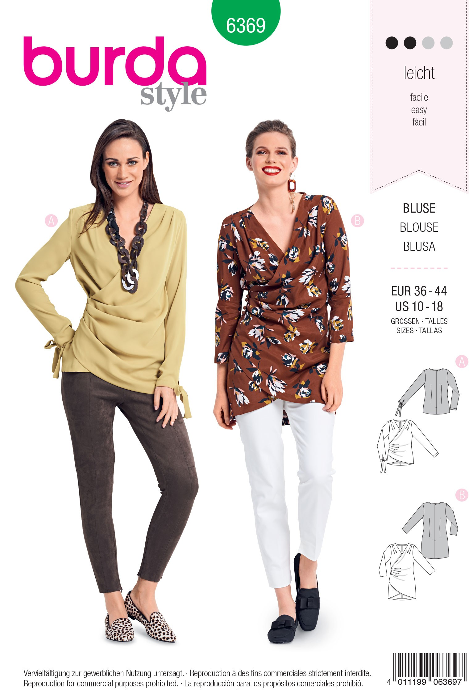 Burda Style Misses' Fitted Blouse with Small Pleats Sewing Pattern 6369