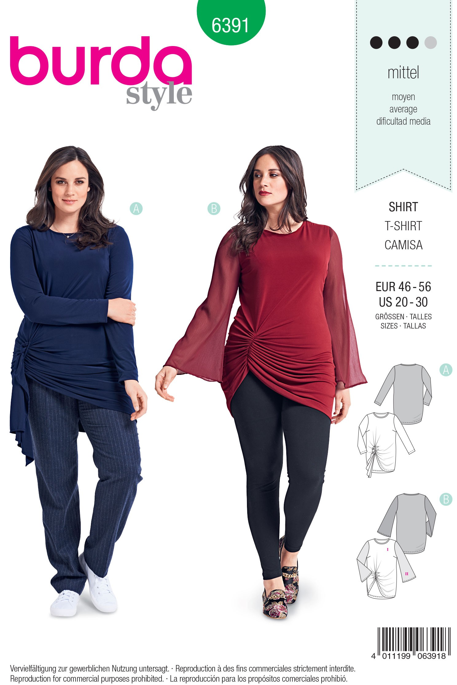 Burda Style Misses' Feminine Raglan Top Pleated Neckline Sewing Pattern 6329