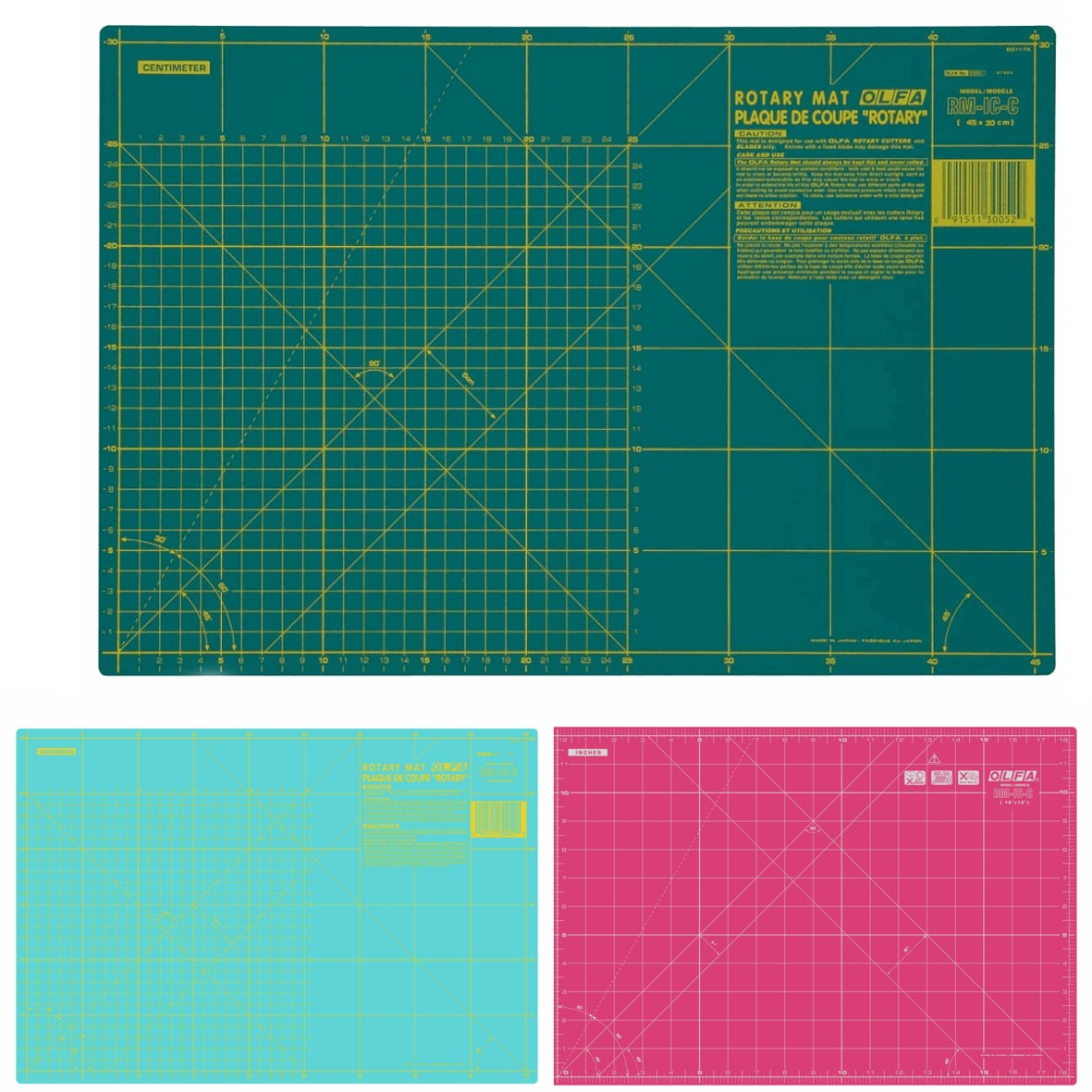 "Pink Olfa Coloured Cutting Mat Double Sided Imperial & Metric Self Heal 17"" x 11"""