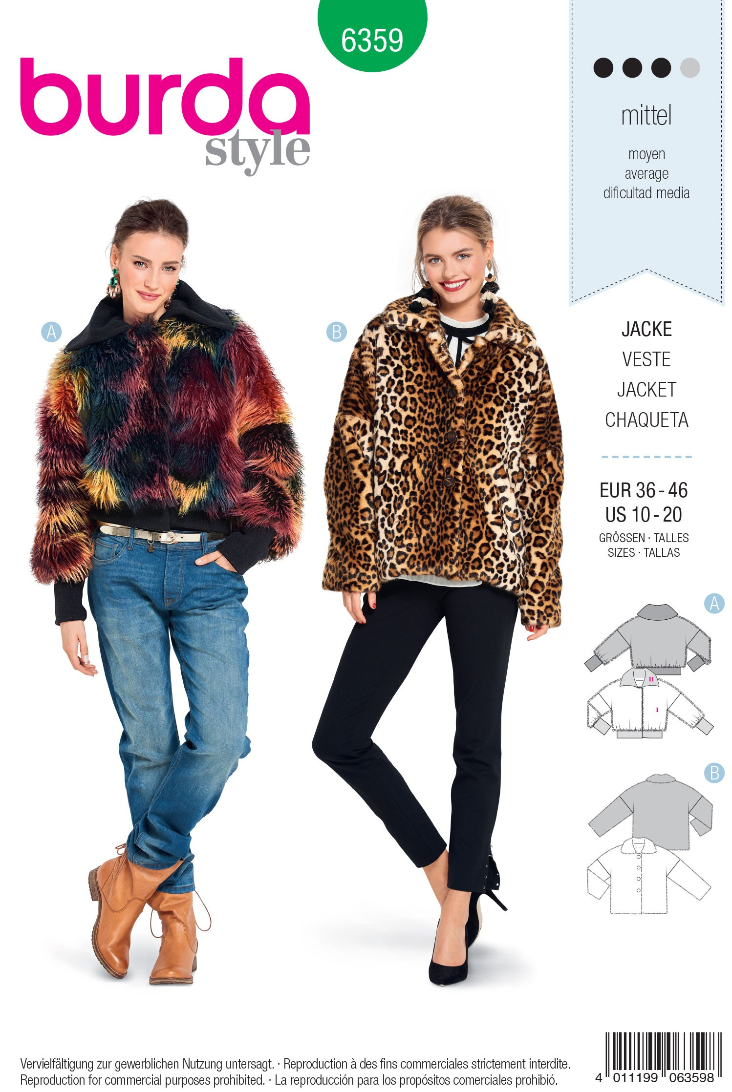 Burda Style Misses' Wide Cut Fur Coat Sewing Pattern 6359