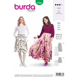 Burda Style Misses' Full Skirt Perfect for Summer Wear Sewing Pattern 6386