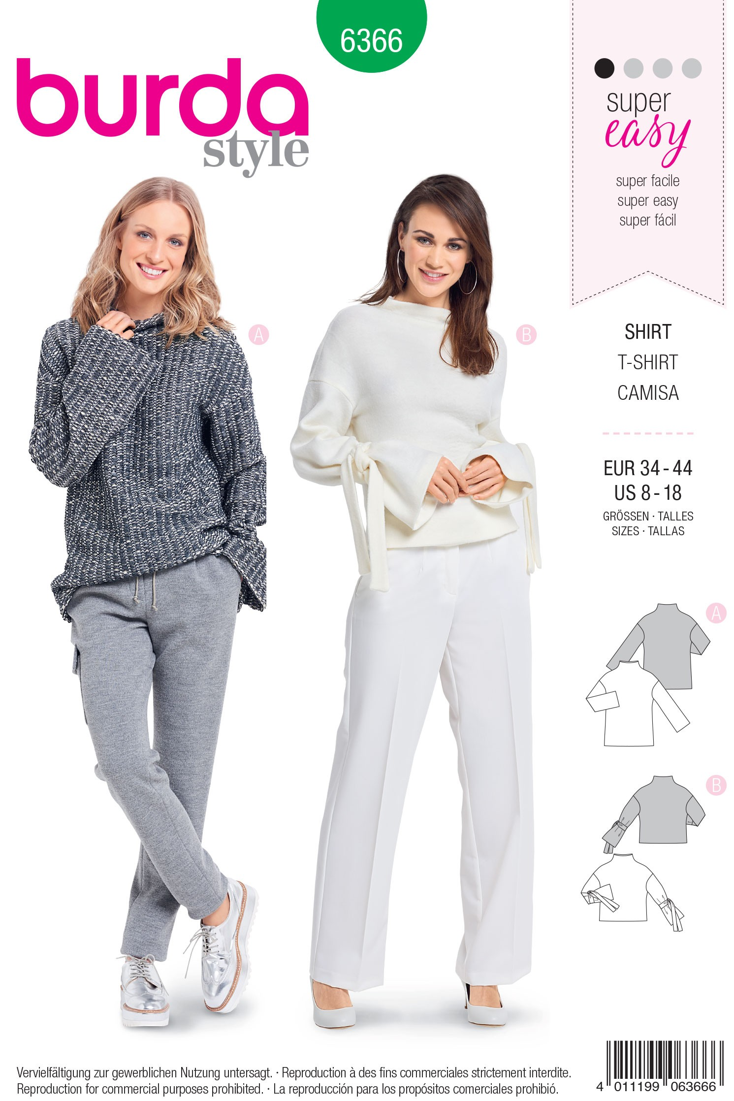Burda Style Misses' Loose Fitting Feminine Collared Top Sewing Pattern 6366