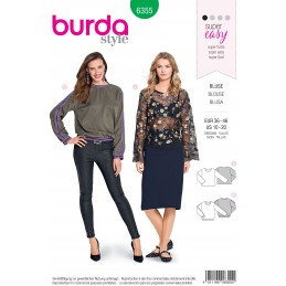 Burda Style Misses' Open Blouse and Shirt Sewing Pattern 6355